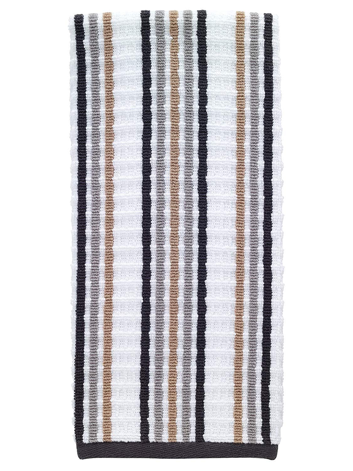 "T-fal Textiles Striped Waffle 100% Terry Cotton, Highly Absorbent, Anti-Microbial, Oversized Kitchen Towel, 16"" x 28"", Neutral"