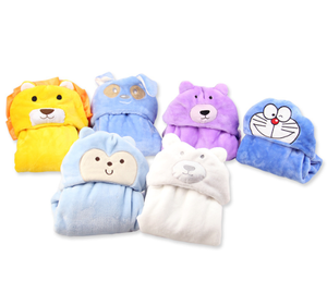 3D Lovers pandas/Doraemon /Yellow lion face baby bath towel flannel fleece baby hooded towel