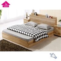Modern King Size MDF Wooden Double bed with Storage Box drawer