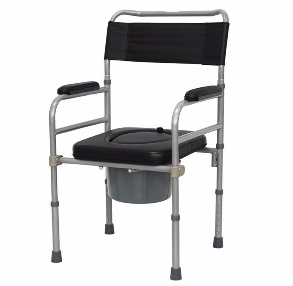 Get Quotations · LUCKYYAN Senior Steel Leather Portable Commode Shower  Wheelchair With Foldable Toilet Style Waterproof Seat and Cover