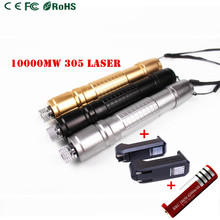 New Upgarde Professional 10000mw 305 Laser Pointer Waterproof High Power Lazer Burning Presenter With Charger and Battery