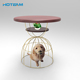 Wooden Top Dog House Metal Pet Bird Cage