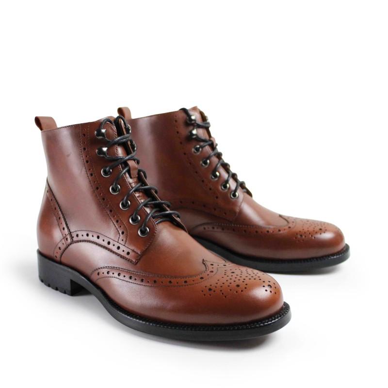 c0cb46be2 VIKEDUO ручной работы четверть броги шнуровка Мужская обувь из телячьей  кожи мужская зимняя защита ботильоны для
