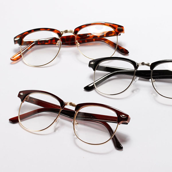 8270bfc61b Best Unisex Women Retro Half Frame Glasses Metal Frame Clear Lens Nerd  Eyewear XM