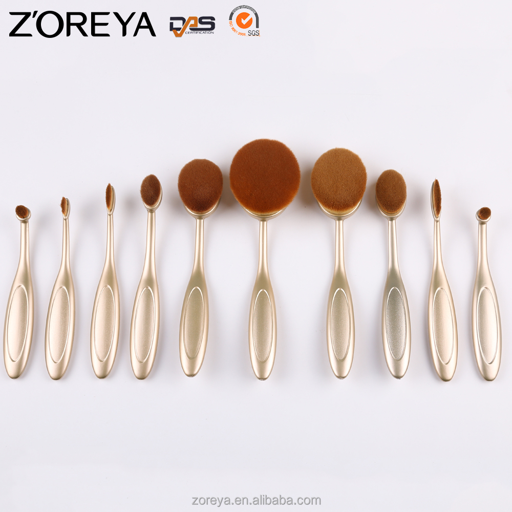 10pcs New Arrival Hot Sales Girl Makeup Tooth Face Oval Powder Makeup Fiber Brush Makeup Brush Set