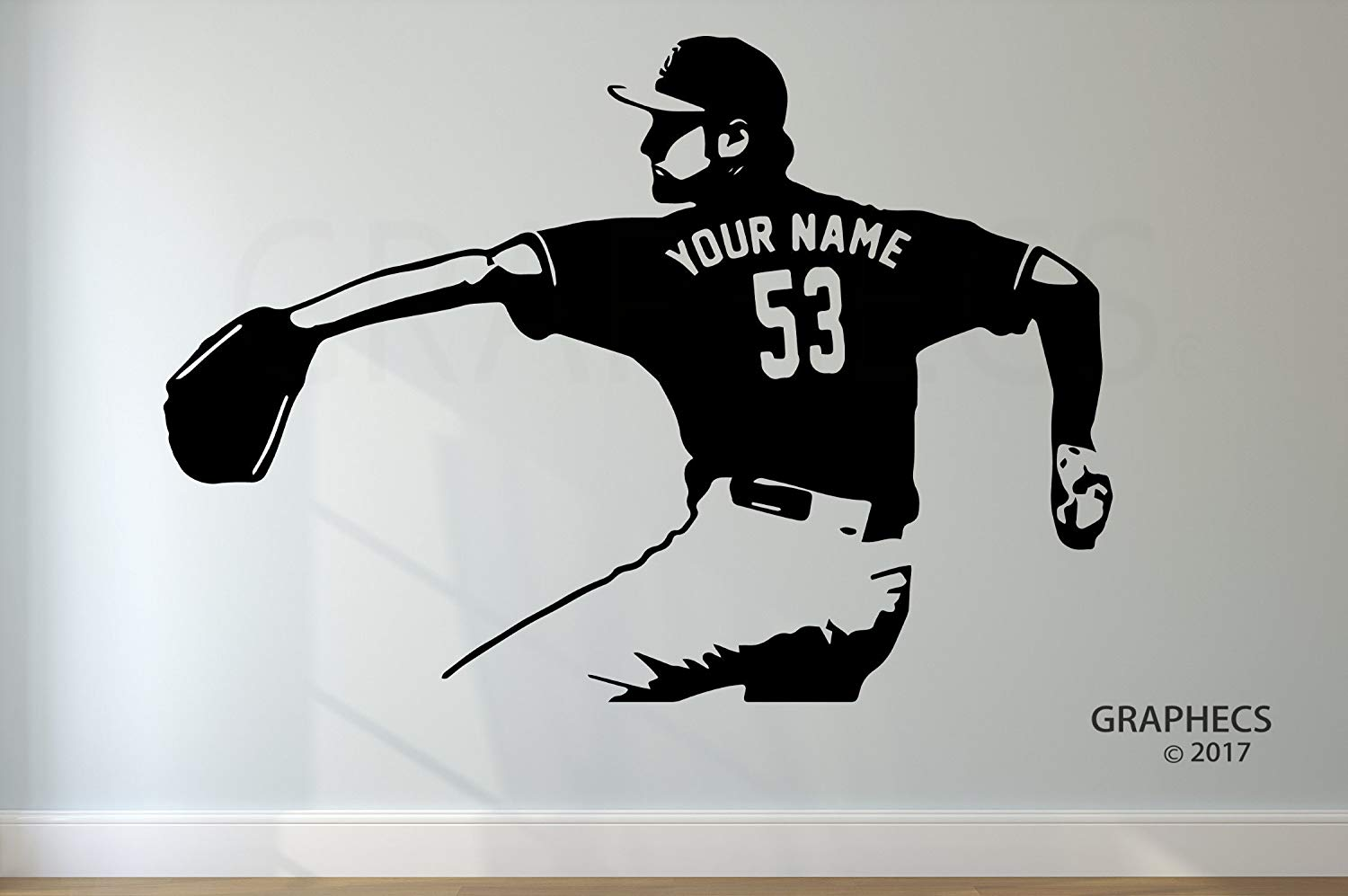 Personalized Custom Baseball Wall Decal - Choose your NAME & NUMBERS Custom Player Jerseys Vinyl Decal Sticker Decor Kids Bedroom