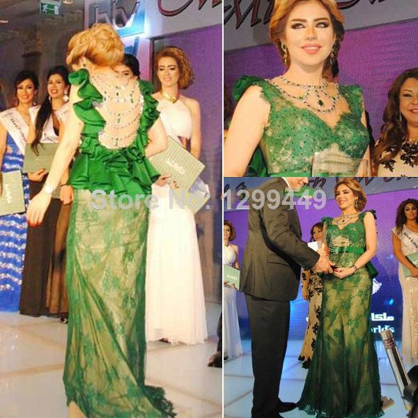 Nancy Ajram Celebrity Dress 2014 Long Elegant Prom Dress Diamond Lace Sheer Bandage Dress Emerald Green Sexy Lady Eveninig Gown