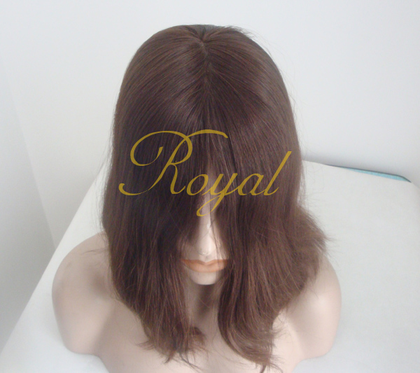 Stock Russian hair Jewish wig , Full hand tied ,150% density brown color Jewish wig for Promotion