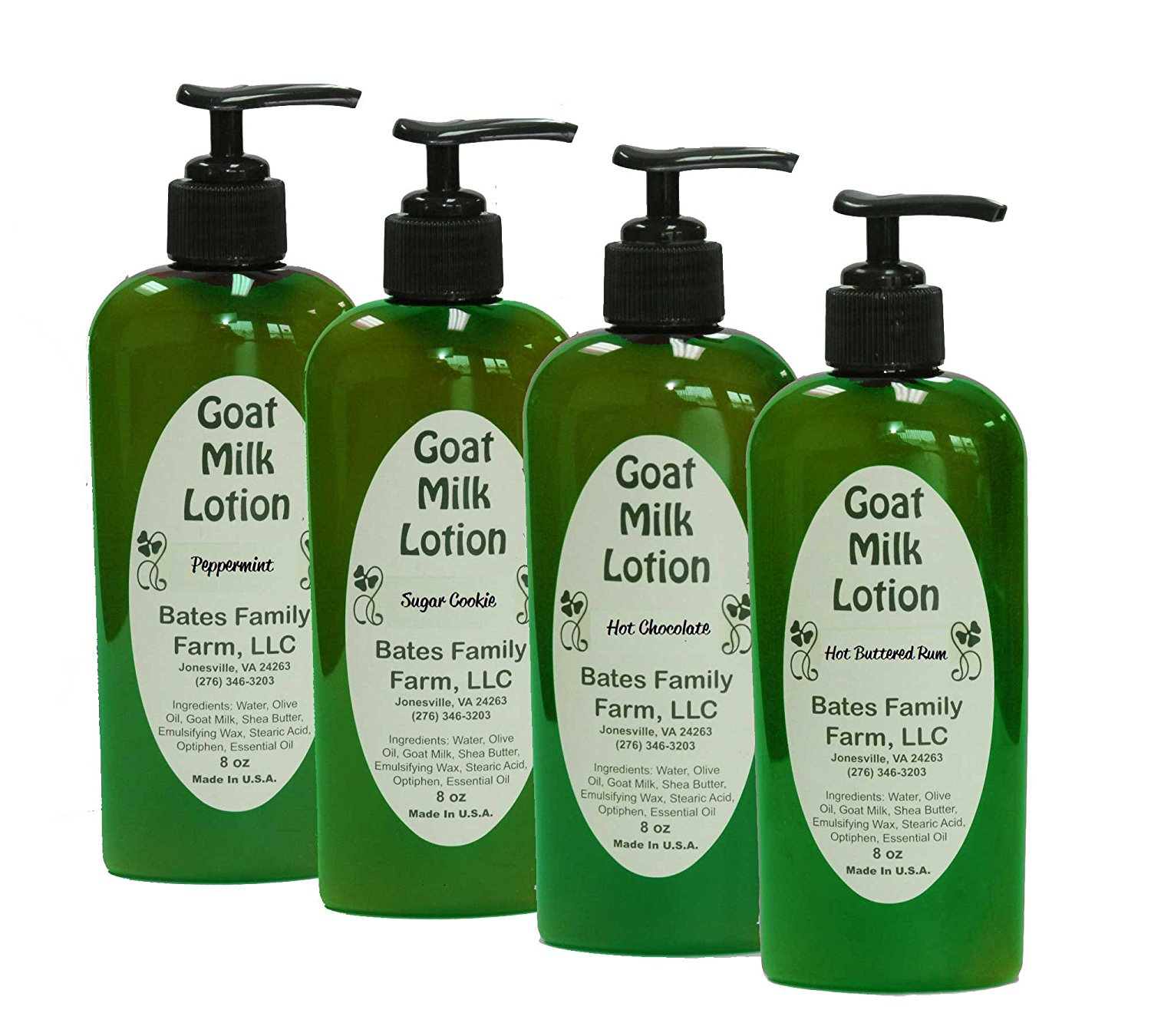 Winter Goat Milk Lotion Moisturizer Variety Gift Set: Sugar Cookie, Hot Chocolate, Peppermint, Hot Buttered Rum 8 Ounce Bottles