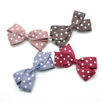 white dot print grosgrain ribbon  wholesale 4 inch big girls hairbow with clip