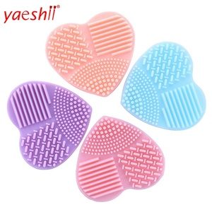Yaeshii colorful heart shape cleaning pad makeup brushes silica glove scrubber board cosmetic cleaning tools for sponge