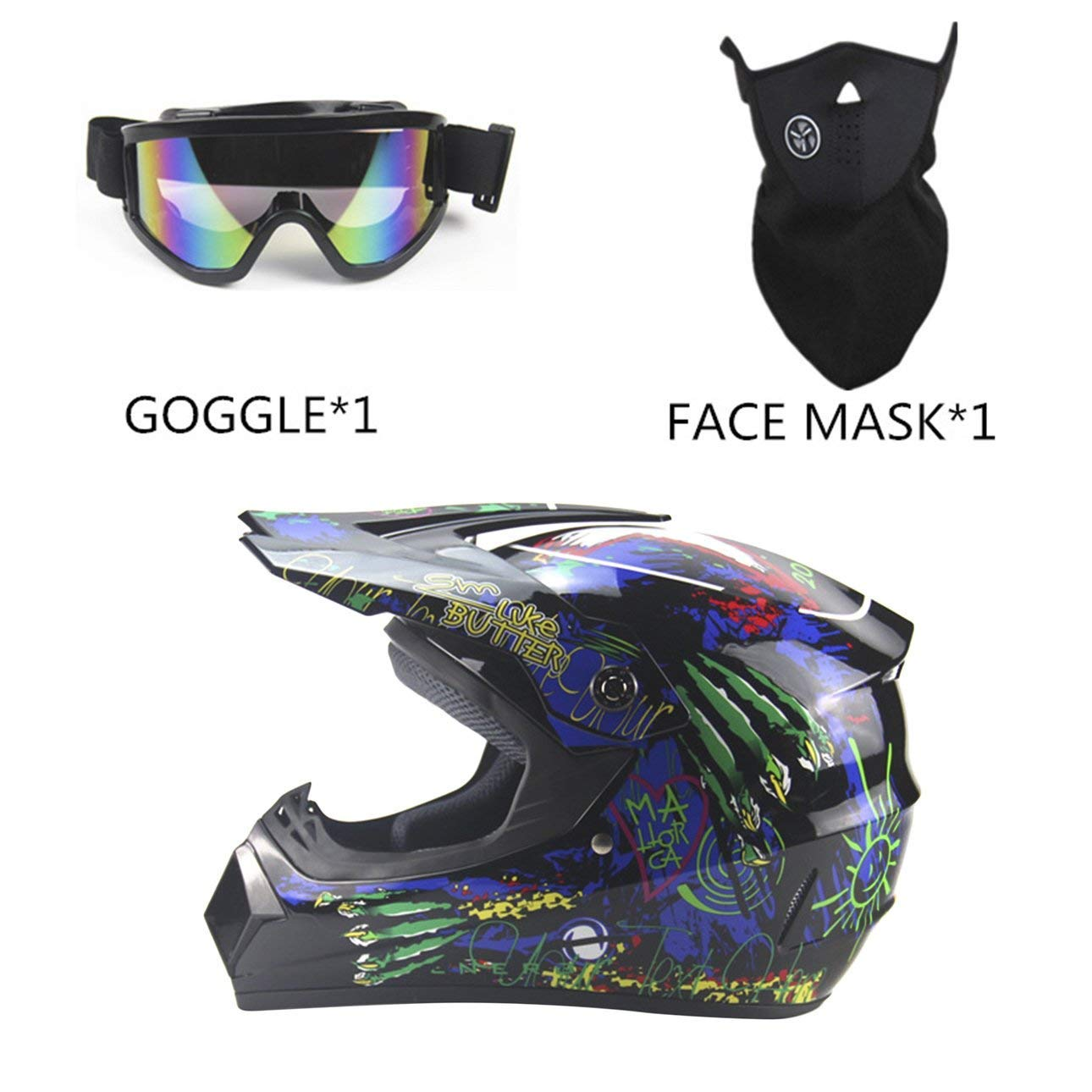 8cbbd3dd Get Quotations · Liobaba Sun Shield Full Face Helmet, Breathable Motorcycle  Modular Full Face Helmet Goggles Face Mask