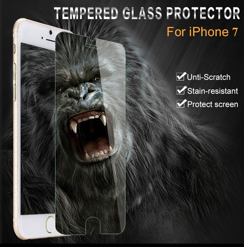 100pcs Free Shipping for iPhone 7 Screen Protector Tempered Glass;9H Clear Tempered Glass for iP 7 Screen Protector фото