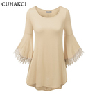 Women Loose Crewneck Stitching Knit Tunic Tops Trumpet Sleeves Lace Polyester Spliced Top Dress