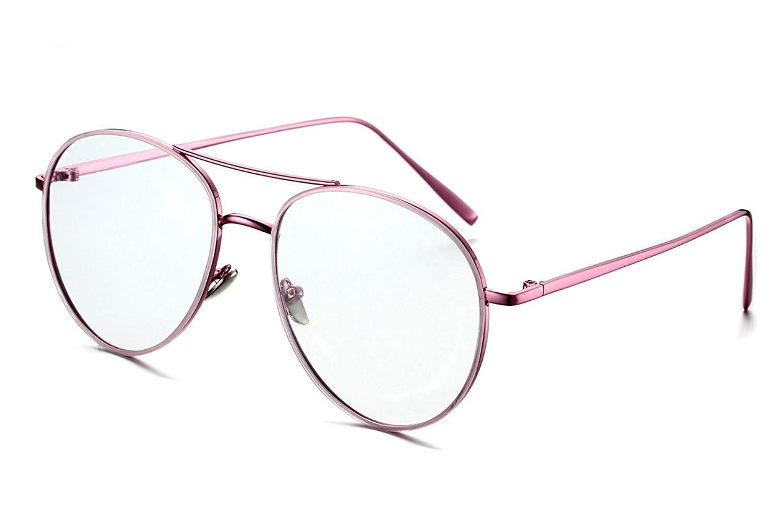 24686fa84e5 PenSee Circle Oversized Metal Eyeglasses Frame Inspired Horned Rim Clear  Lens Glasses