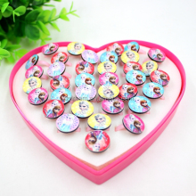 Hot Selling Cute Promotional Children Heart Box Plastic Ring Baby Jewelry