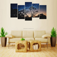 5 Panel Printed Wall Art Canvas Painting for Kitchen Restaurant Bar Green Stars in Sky