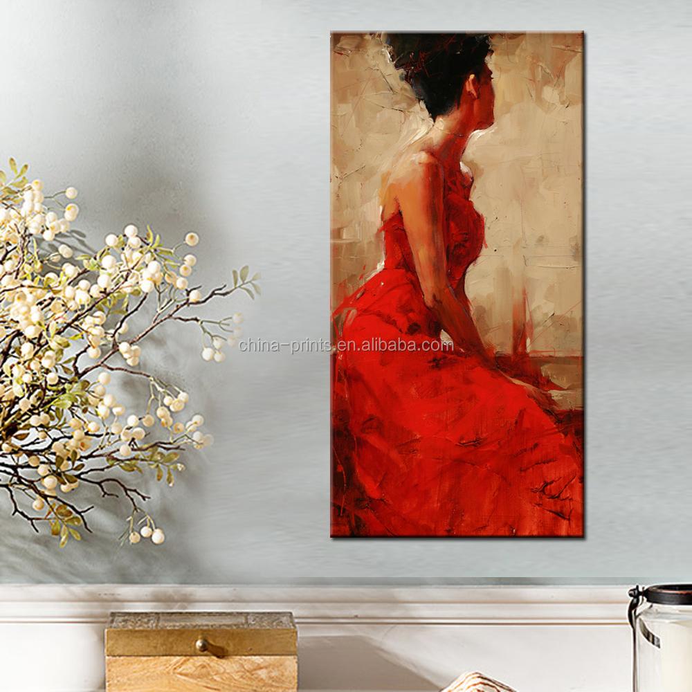 Elegante vrouwen schilderkunst/rode jurk vrouwen wanddecoratie ...