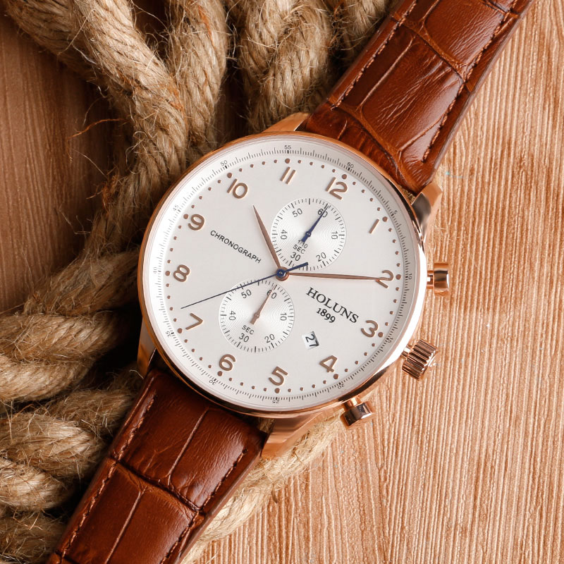 HOLUNS Original Mens Watches Luxury Brand Chronograph Men's Business Casual Leather Dress Calender Hour Clock Relogio Masculino 2017 2018 Best Gifts for Dad HIM (25)