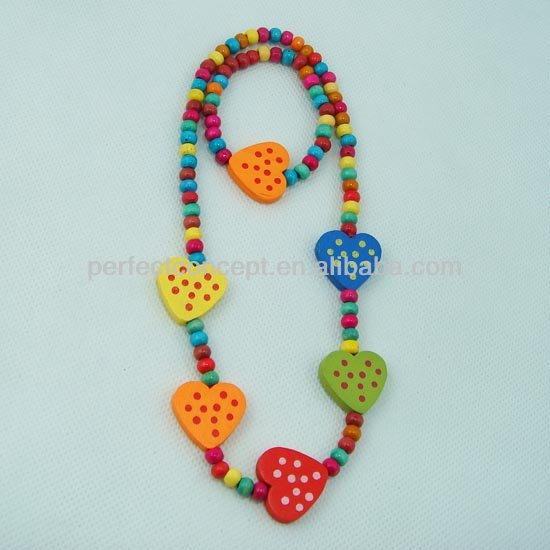 wood bead necklace and earring for kid children jewelry,polka dot heart pendant,multi color
