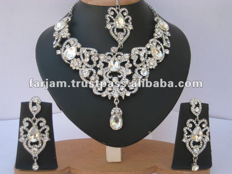 Indian Designer Silver Bridal Jewelry Necklace Set - Buy Bridal ... d87286d4acc3