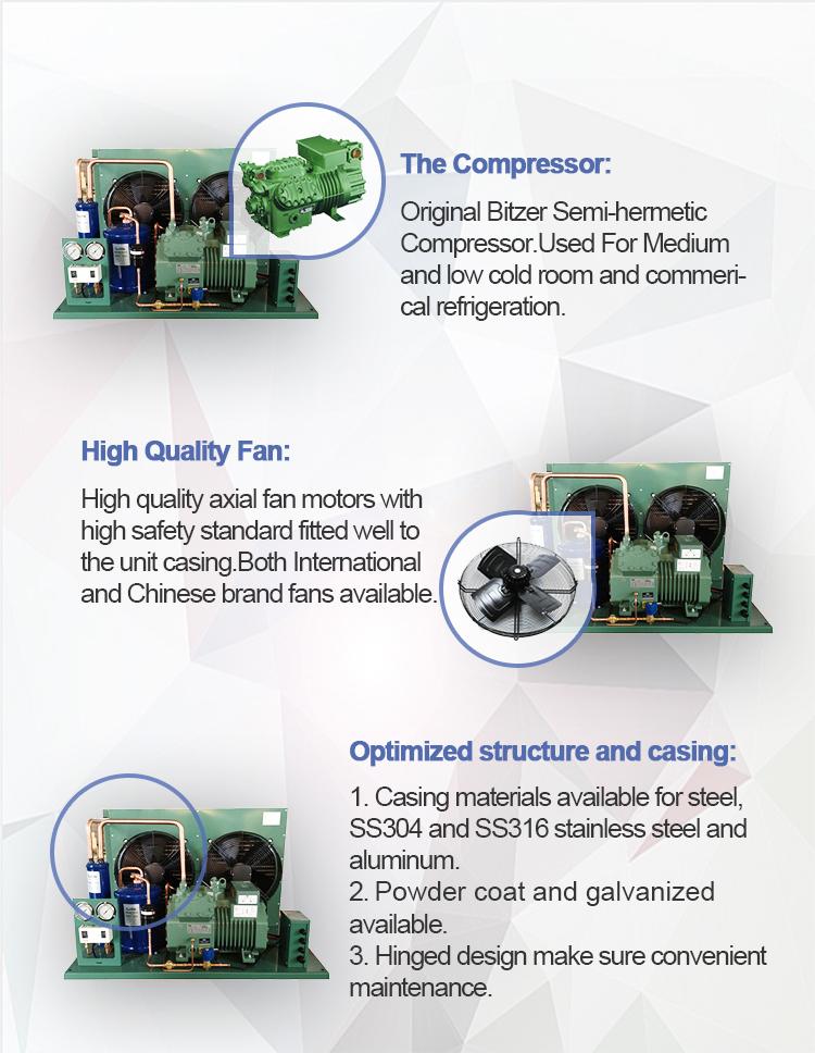 20HP R404a Bitzer मूल ब्रांड कंप्रेसर इकाई/कंडेनसर यूनिट 4NES-20Y कोल्ड स्टोरेज के लिए