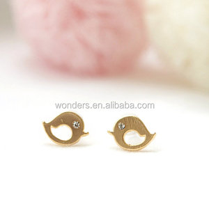 2016 Fashion Minimalist Earrings Jewelry Wholesale Cute Bird With Artificial Crystal Eye Stud Earing Wedding Anniversary Wear