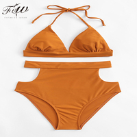 Low MOQ customized Lady padded Hollow Cut Out high waist cut out swimwear beachwear