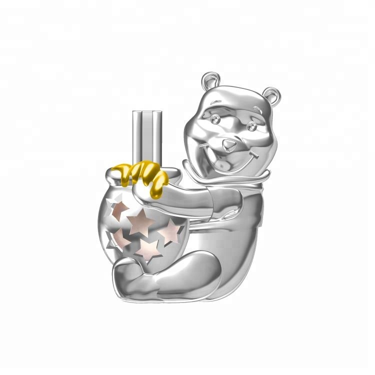 winnie cage pendant pearl jewelry pretty charm Honey bear 925 pearl cage pendant for cartoon style gift