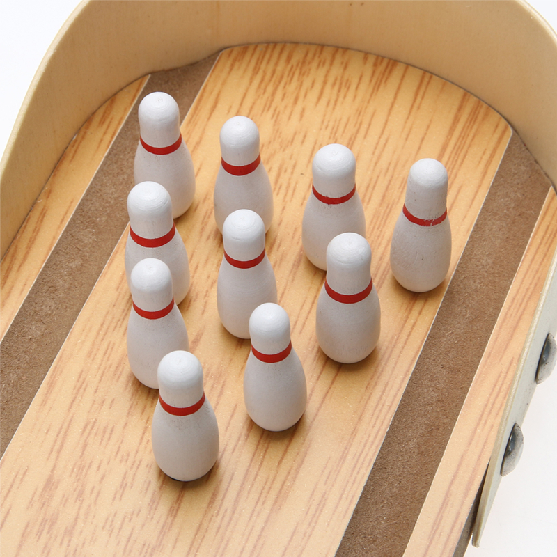 Mini Entertainment Desktop Bowling Game Set Houten Bowling Alley Tien Metalen Pin Bal Bureau Kinderen Kid Speelgoed