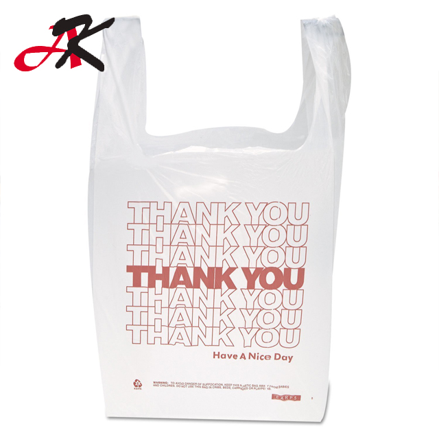 Hot sale Custom Printed Clear Fold LDPE Supermarket Plastic T shirt Bags for shopping packaging