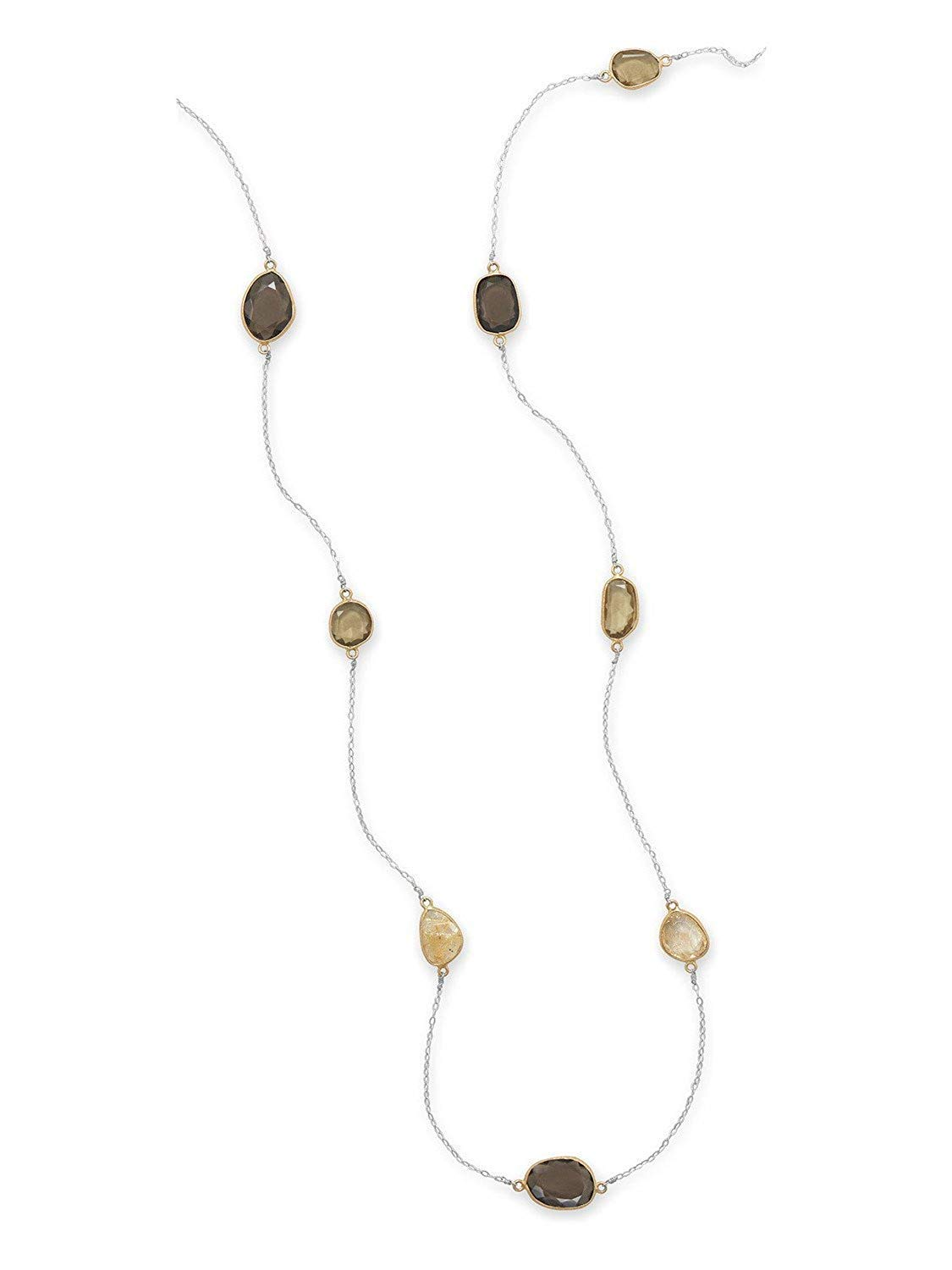 Golden, Rutilated, and Smoky Quartz Necklace Gold-plated Sterling Silver