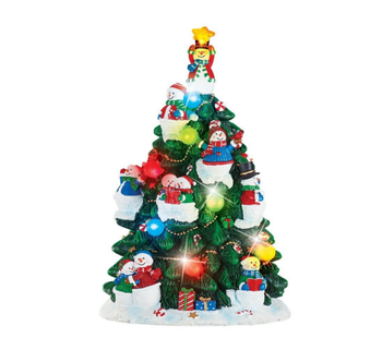snowman color changing resin led light christmas tree figurine