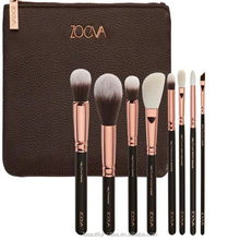 8pcs/set Brushes Set Kit Baking Varnish Wooden Handle Makeup Brush with Zip PU Bag Gold RoseTube Makeup Tools