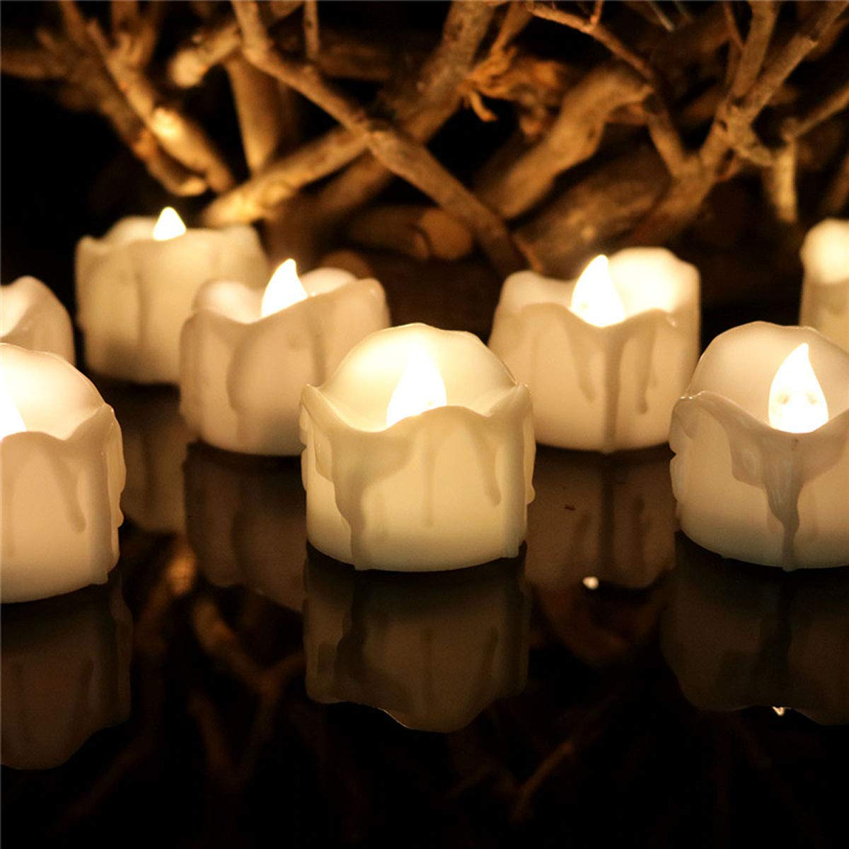 Dellukee Cute Flameless Candles with Timer Drop Tear White Realistic Bright LED Tea Lights Candle for Wedding Birthday Party Decoration, Pack of 12, Electric Fake Candle in Warm White