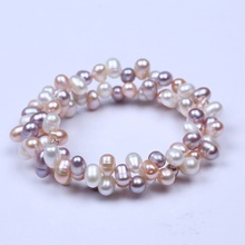 Latest design women real freshwater natural white pink cultured pearl bracelet jewelry fresh water pearl bracelet