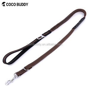 2 In 1 Adjustable Pet Car Safety Seat Belt and Dog Leash with Elastic Nylon Bungee