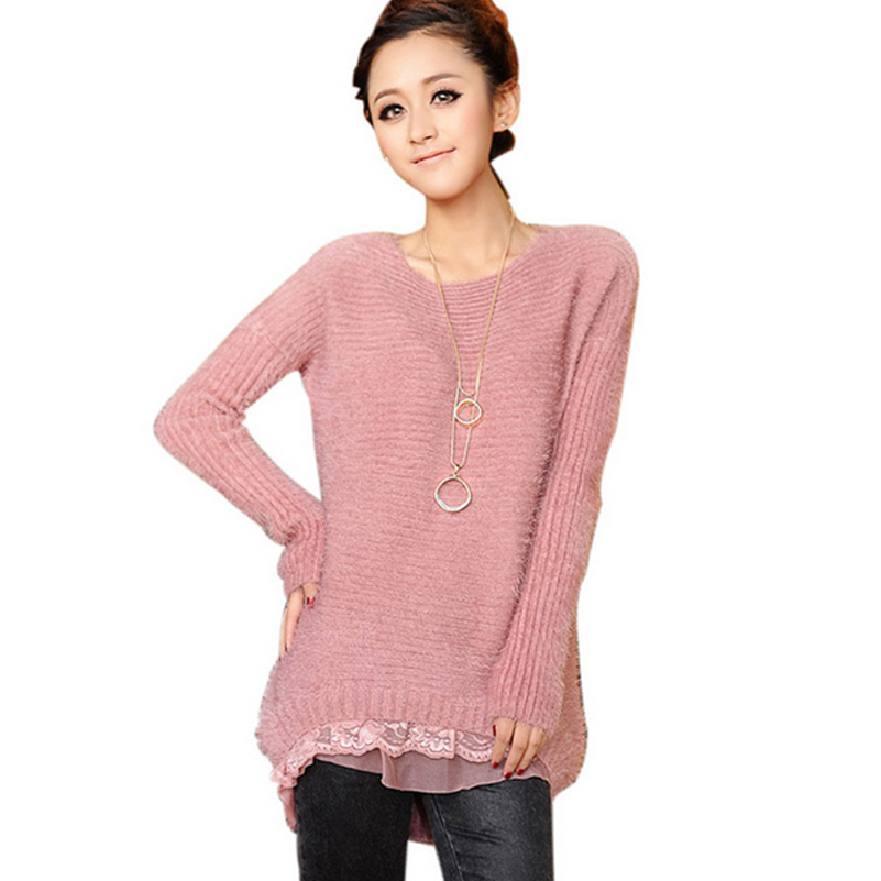 autumn 2015 korean style women sweater dress clothing pullover female lace mohair sweaters. Black Bedroom Furniture Sets. Home Design Ideas