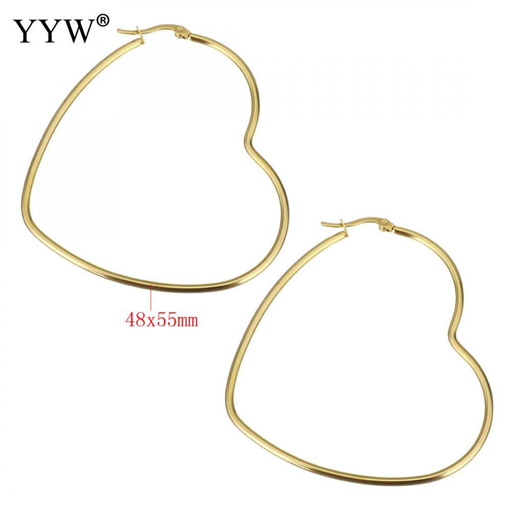 23c3c7edf8bf1 1pair Stainless Steel Hoop Earring Heart Gold/Silver Color Big Hoop Earring  for Women Girl Statement Party Jewelry Gifts