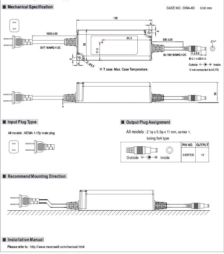 Ortalama kuyu OWA-60U-12 60w 12v adaptörü 60W Moistureproof adaptör