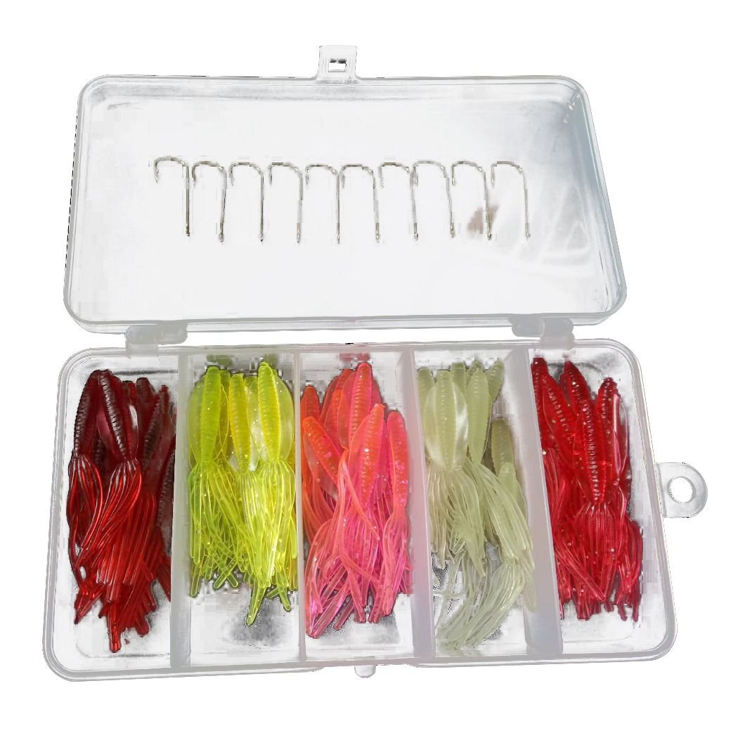 TOOGOO(R) New Lifelike Soft Fishing Lure Squid Jigs Tube Silicone Bait Artificial Lures Fishing Baits Dropshipping 1 box of 50 (5 colors)