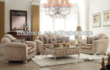 Neo Classical Living Room Furniture Set, Fan Back Windsor Sofa Set, Elegant  Tan