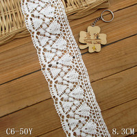 Vintage white cotton crochet lace edging trim ribbon DIY sewing