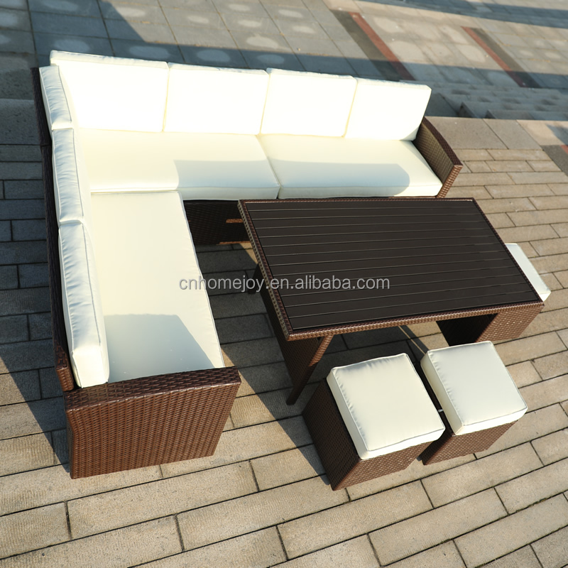 7 Pc Patio Wicker Furniture Set Conversation Sofa Cushioned Outdoor