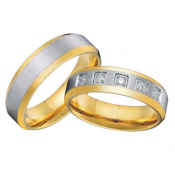 classic  western 18k gold plated wedding band titanium matching promise rings set  for couples alliance anel