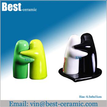 Hugging Ceramic Salt Pepper Shakers With Holder