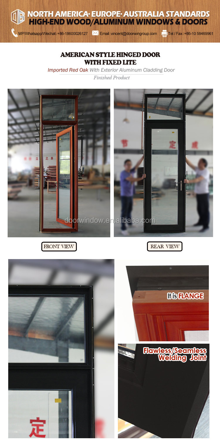 NewYork Wood framed glass wood exterior doors with transom