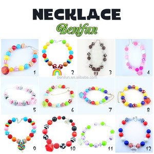 New Arrival kids chunky gum bubble necklace Wholesale girls latest design beads necklace