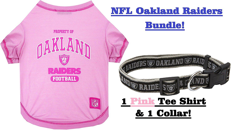 NFL Oakland Raiders PET COLLAR & PET TEE SHIRT Bundle, Large. ▬ Oakland Raiders Dog Shirt & Collar. ▬ Football Pet T-Shirt. ▬ Football Pet Collar. ▬ NFL COLLAR. ▬ NFL T-SHIRT.