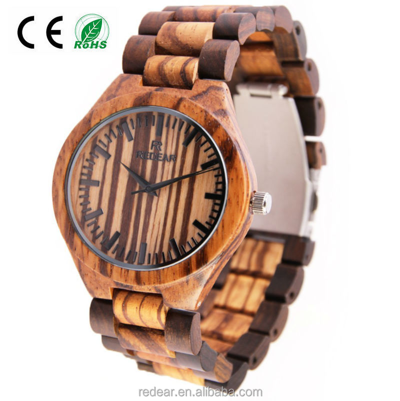 2017 new style hot sale wooden watch unique natural zebra wood watch